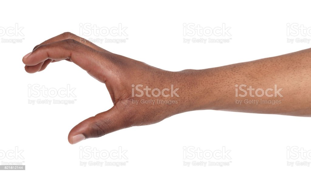 Black hand holding credit card or other isolated stock photo