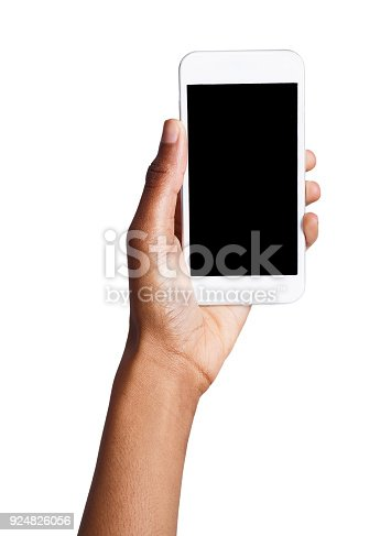 1132512759istockphoto Black hand holding mobile smart phone with blank screen 924826056