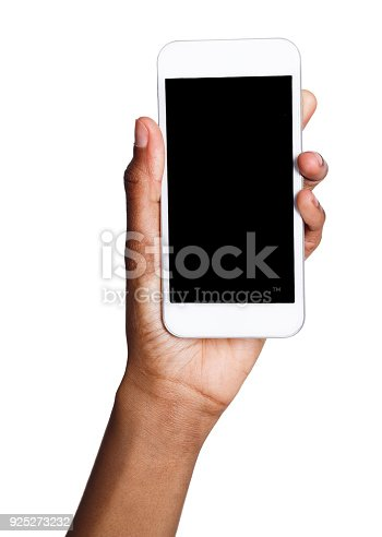 1132512759istockphoto Black hand holding mobile smart phone with blank screen 925273232