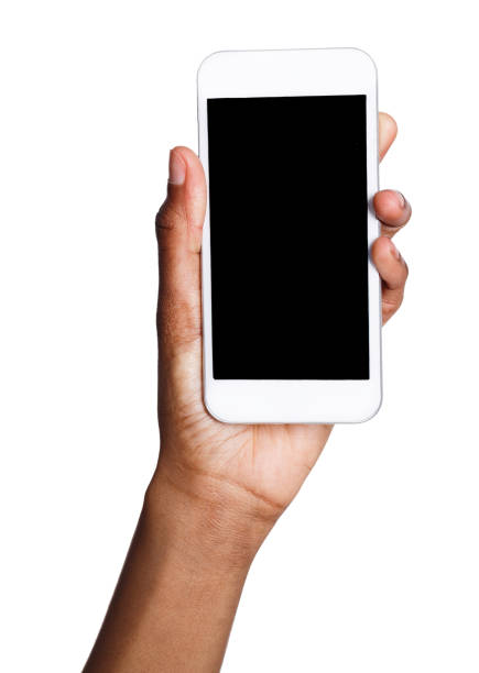 black hand holding mobile smart phone with blank screen - human hand stock pictures, royalty-free photos & images
