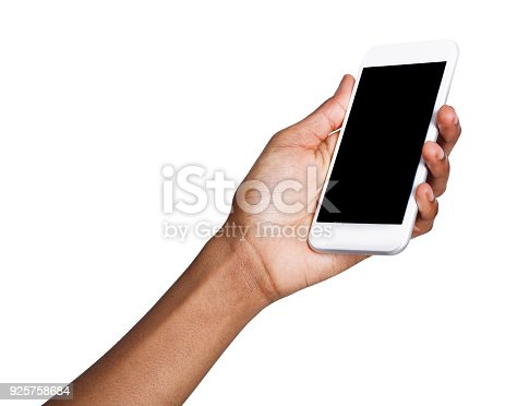 1132512759istockphoto Black hand holding mobile smart phone with blank screen 925758684