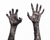 ウォーキング ・ デッド、ゾンビのテーマ、ハロウィーンのテーマ、ゾンビの手が、白い背景に、分離、死、ミイラの手の手の死の黒い手黒悪魔の手の爪、モンスターを手