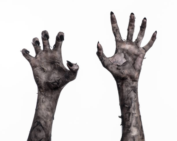 black hand of death, the walking dead, zombie theme, halloween theme, zombie hands, white background, isolated, hand of death, mummy hands, the hands of the devil, black nails, hands monster - horror zdjęcia i obrazy z banku zdjęć