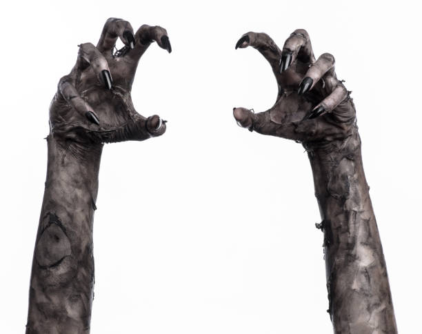 black hand of death, the walking dead, zombie theme, halloween theme, zombie hands, white background, isolated, hand of death, mummy hands, the hands of the devil, black nails, hands monster - monster stock pictures, royalty-free photos & images