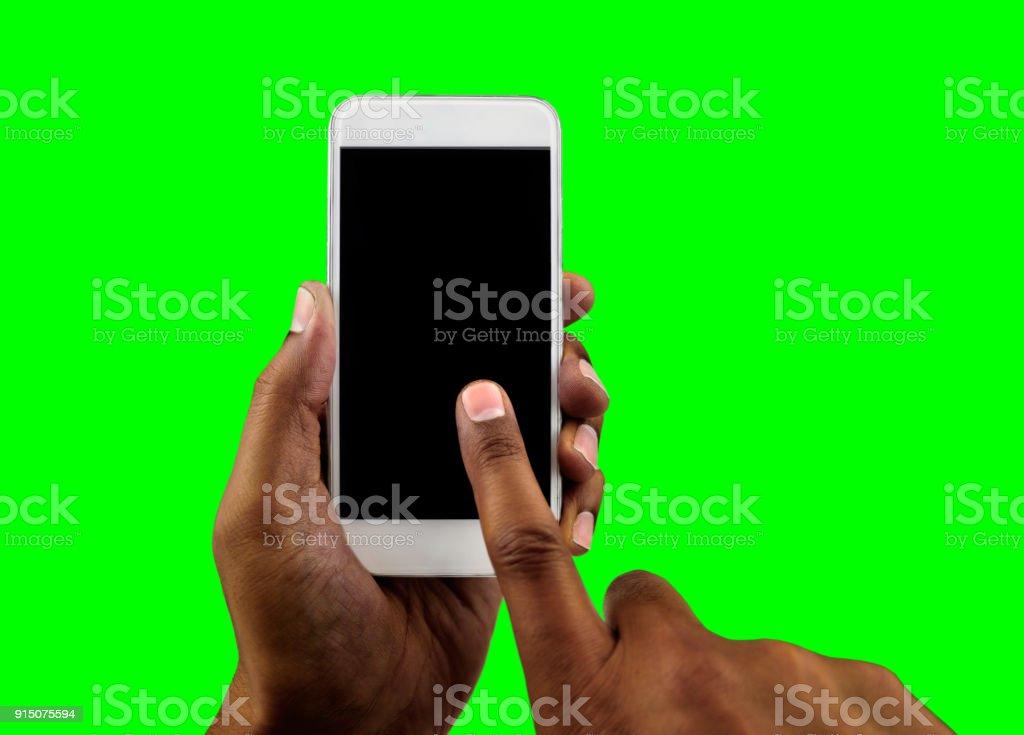 black hand with chrome key stock photo