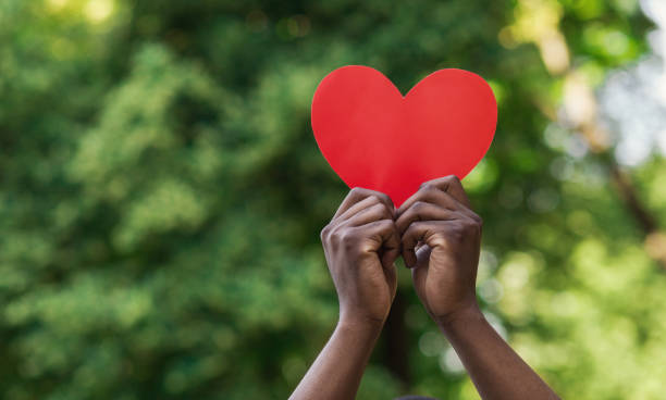 Black hands holding red paper heart on green background Love, charity and kindness concept, copy space. Black male hands holding red paper heart on green nature background. encouragement stock pictures, royalty-free photos & images
