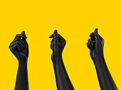 Black hands holding something isolated on yellow, 3d illustration