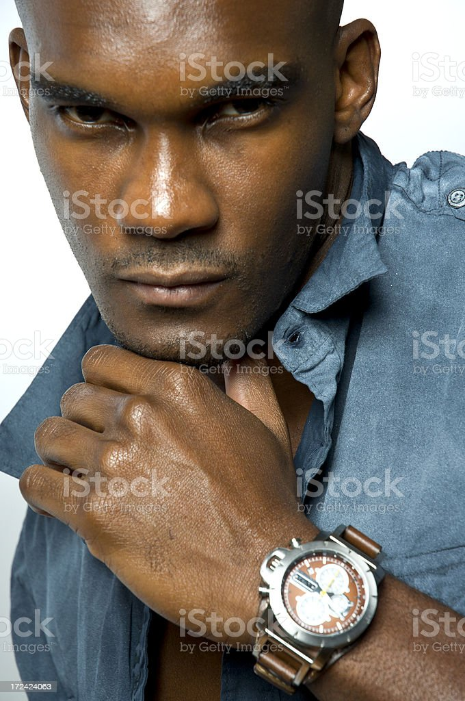 Black Handsome Male Fashion Model With Designer Wrist Watch stock photo