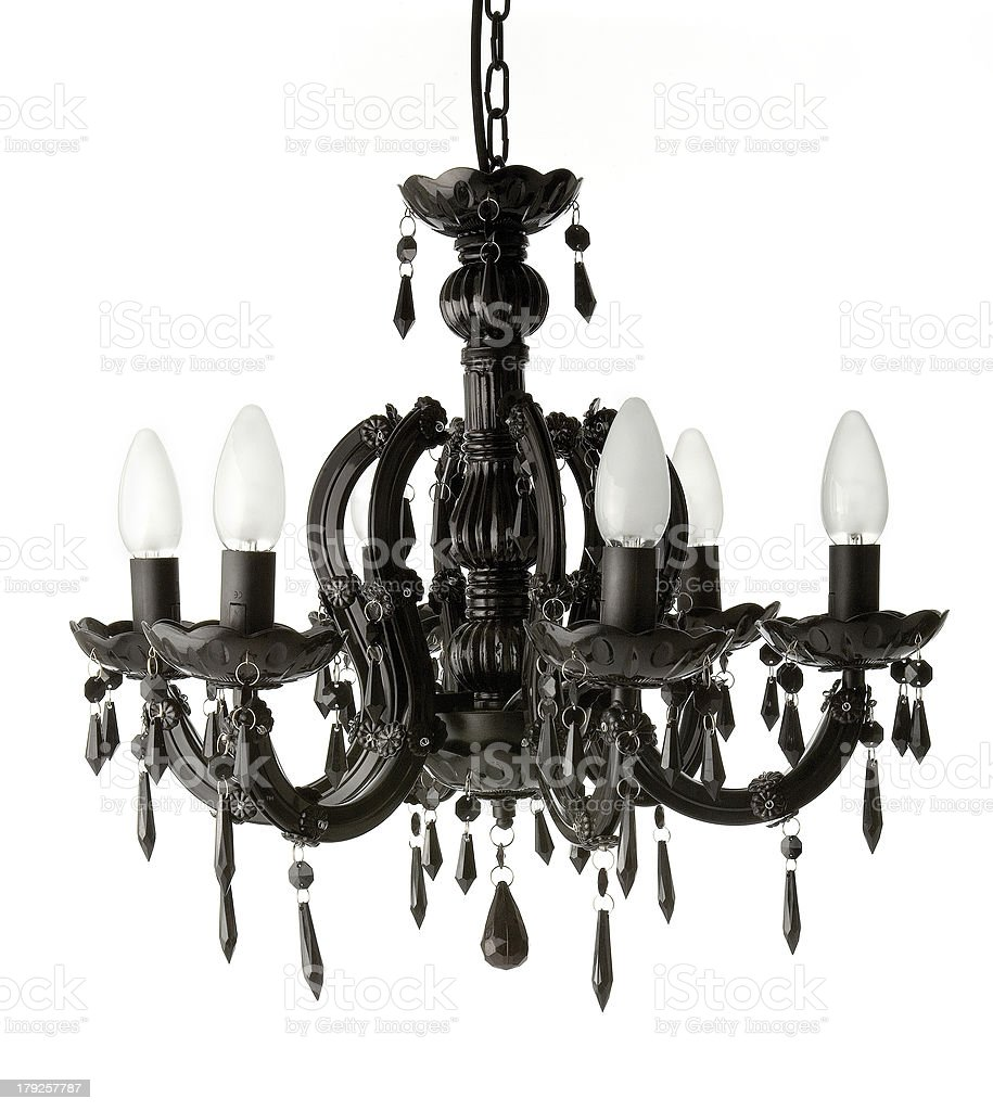 Black hanging chandelier stock photo