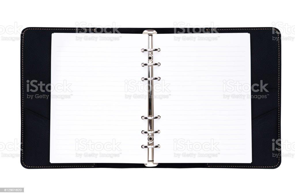 Black hard cover organize book stock photo