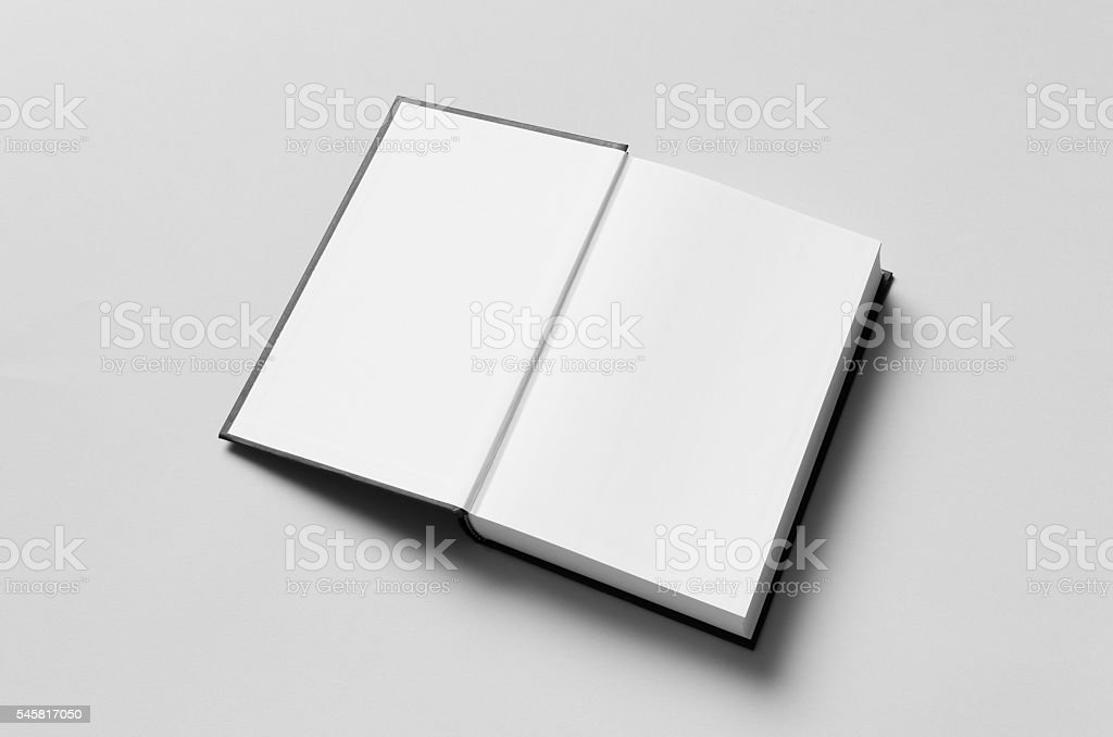Black Hardcover Book Mock-Up - First Page - Photo