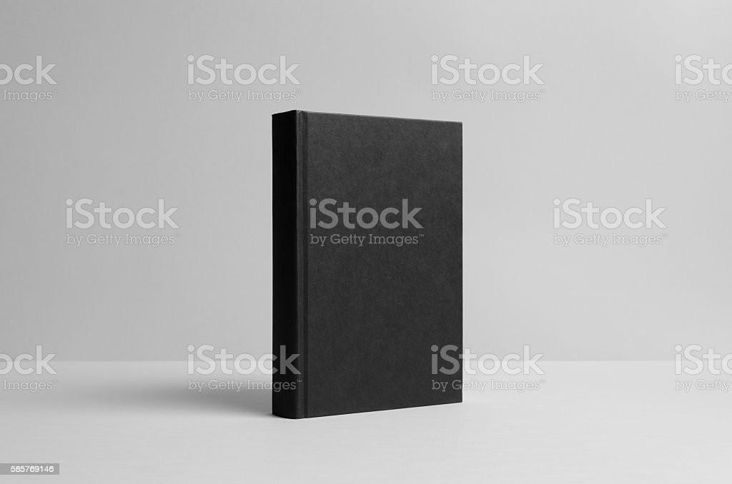 Black Hardcover Book Mock-Up - Wall Background - Photo