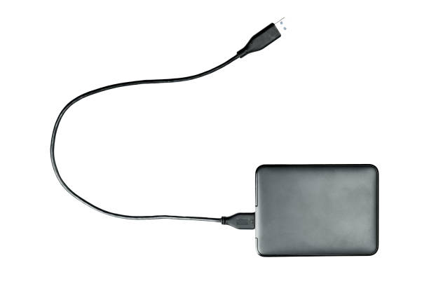 Black harddisk isolated on white background with clipping path. stock photo