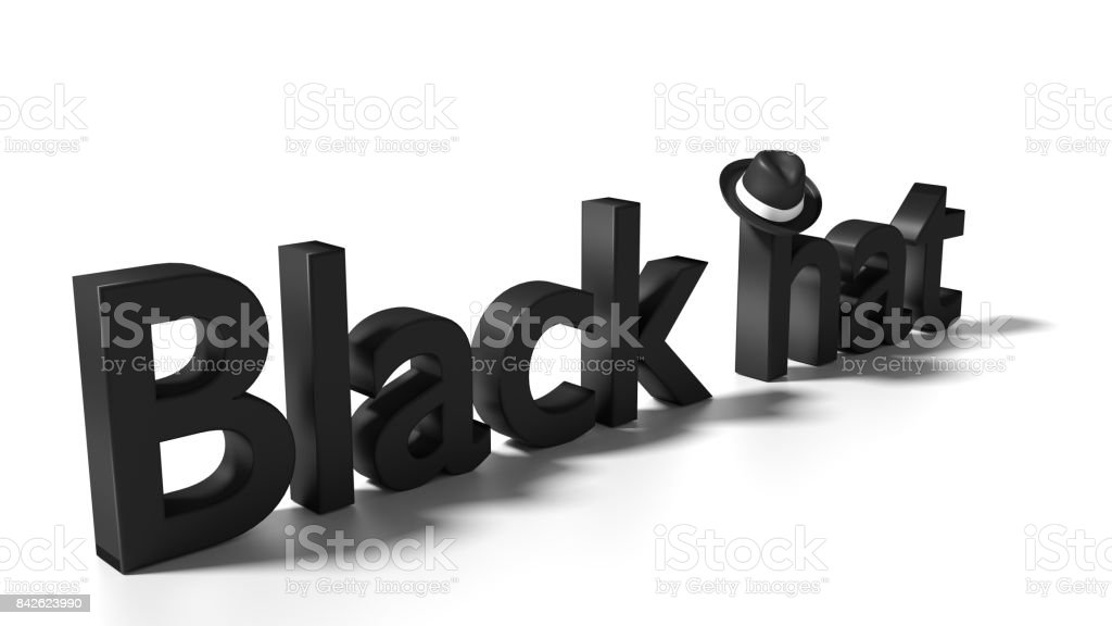Black hat word on white with a black hat hanging from the h stock photo