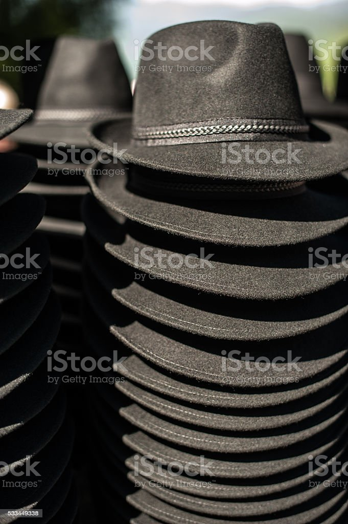 Black hats stock photo