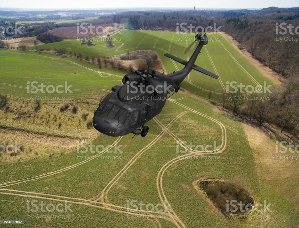 Black Hawk Uh-60 military Helicopter in flight - aerial view close up photo libre de droits
