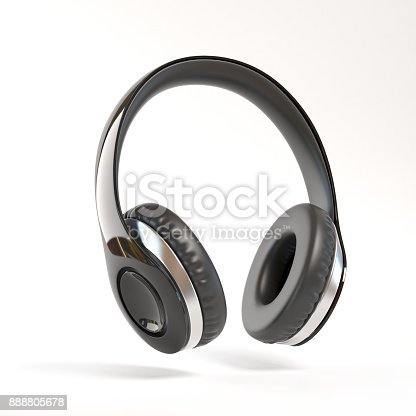 istock Black Headphones isolated 3d illustration 888805678