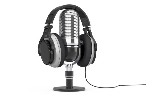 Black Headphones over Microphone. 3d Rendering stock photo