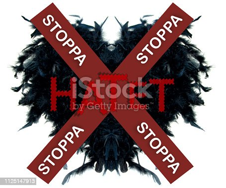 istock Black hearth with swedish text for Stop hate: Stoppa hatet. 1125147913