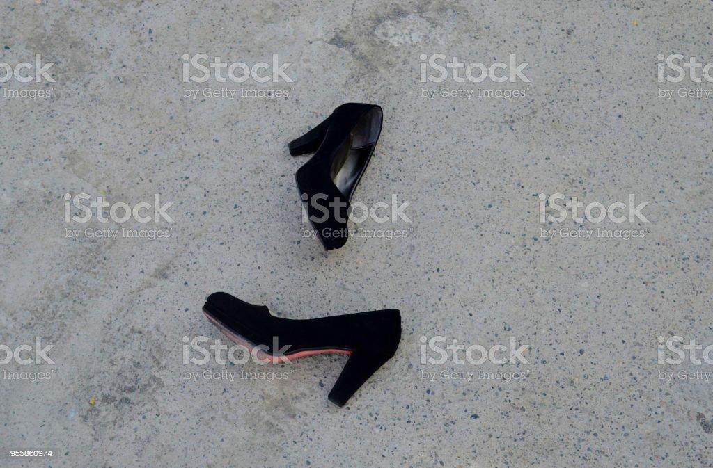 black heeled shoes ,women's shoes stock photo