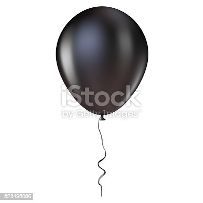 istock Black helium balloon with ribbon. 3D 528495086