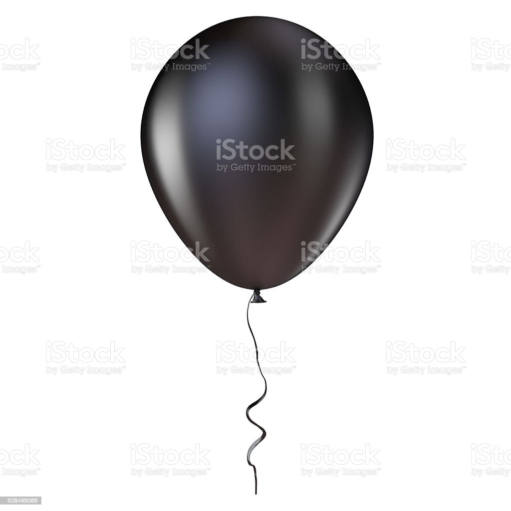 Black helium balloon with ribbon. 3D stock photo