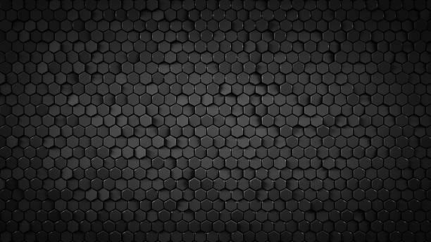黑色六角背景抽象3d 渲染 - 蜂巢式樣 個照片及圖片檔