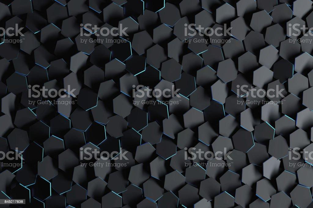 Black hexagons with blue edges stock photo