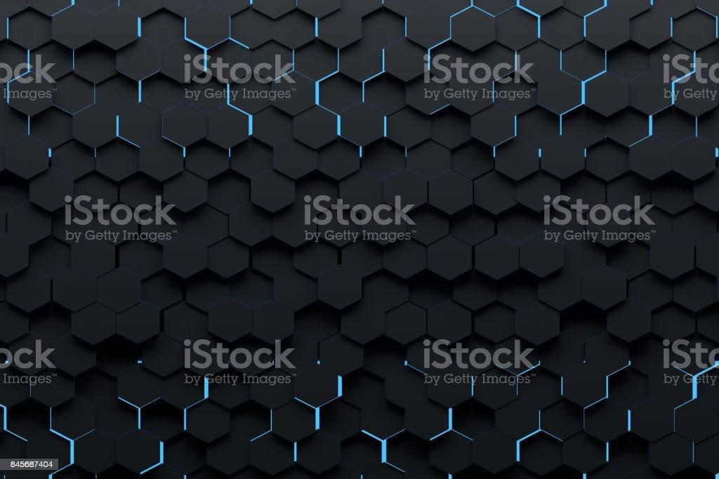 Black hexagons with blue light stock photo