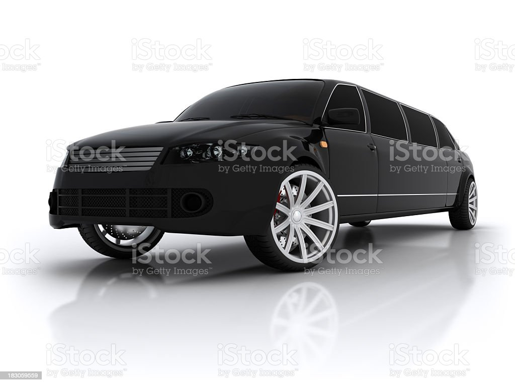 Black high end stretch limousine stock photo