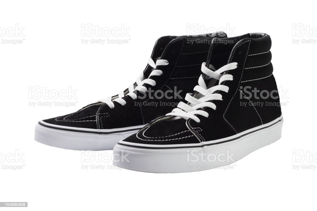Black High Top Canvas Sneakers stock photo