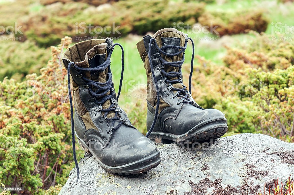 black hiking boots stock photo