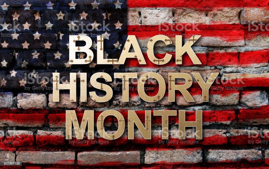 Black History Month (African-American History Month ) background design for celebration and recognition in the month of February. stock photo