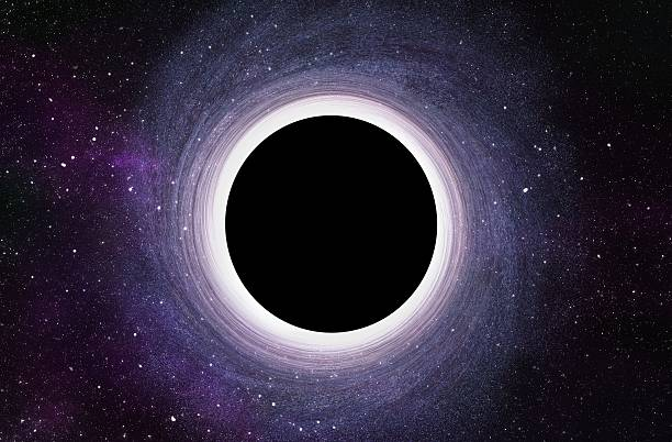 Black Hole at Center of Galaxy - 3D Digital Illustration Massive Black Hole at Center of Galaxy - 3D Rendered Digital Illustration black hole stock pictures, royalty-free photos & images