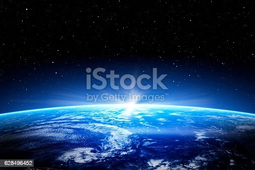 earth space globe planet world global horizon night photo blue view cloud moon design outer sunset sea concept - stock image. Elements of this image furnished by NASA