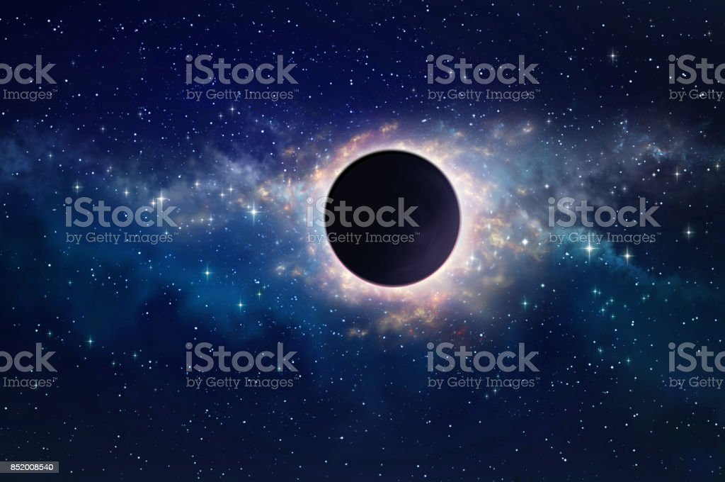Black hole in space stock photo