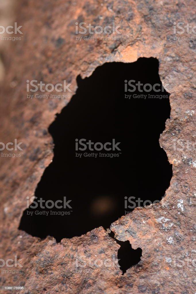 A black hole on a rusty background