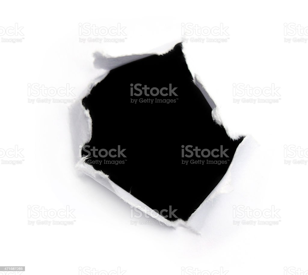 Black hole on a white paper royalty-free stock photo