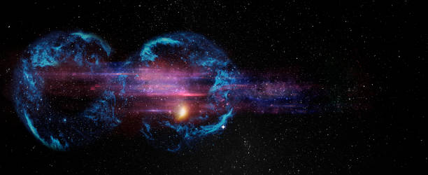 Black hole over star field in outer space, abstract space wallpaper with form of infinity symbol and sparks of light with copy space. Elements of this image furnished by NASA. stock photo