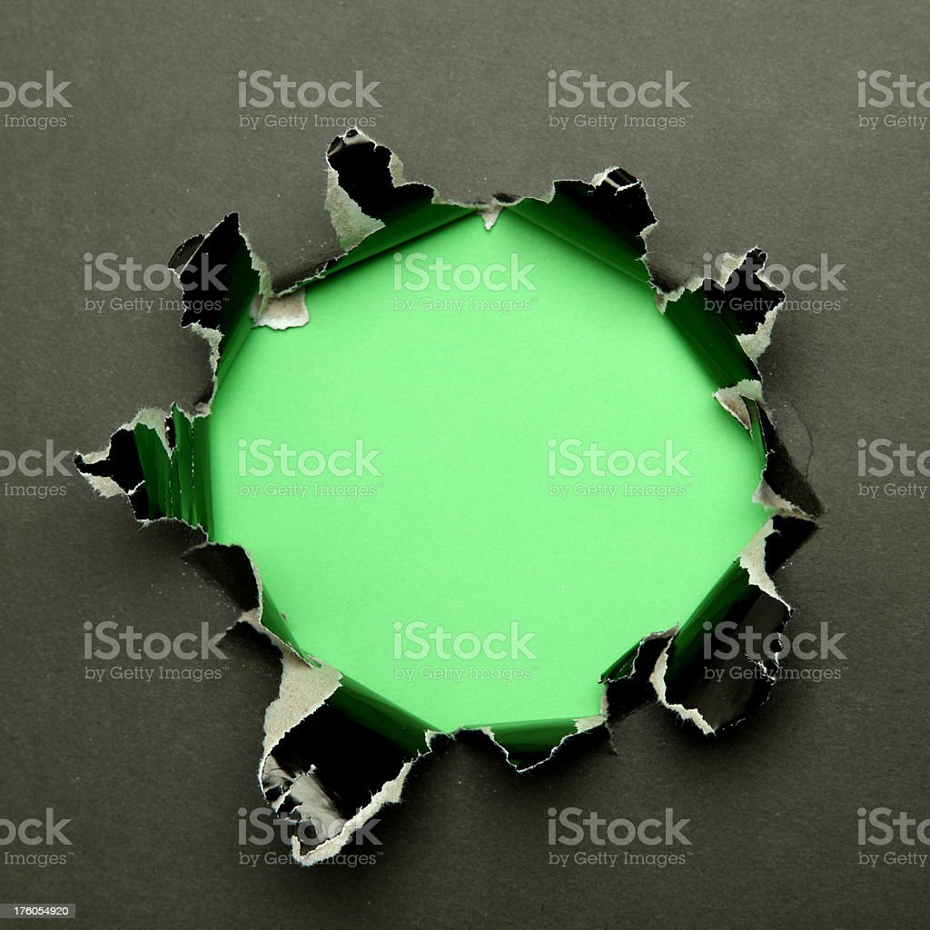 Black hole with green background