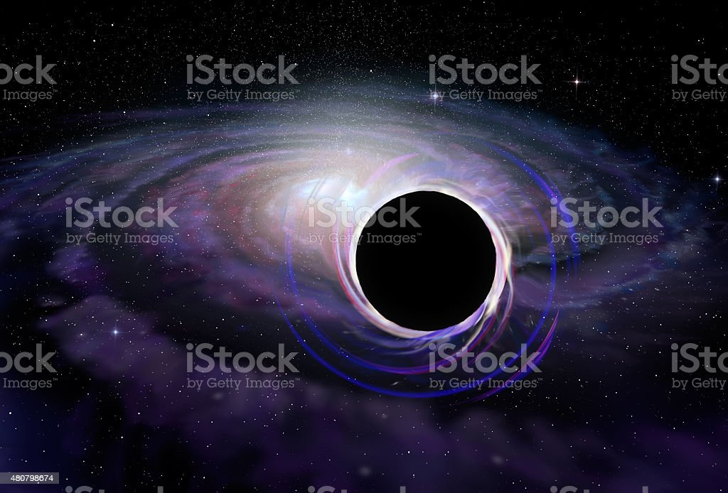 Black hole star in deep space, illustration stock photo