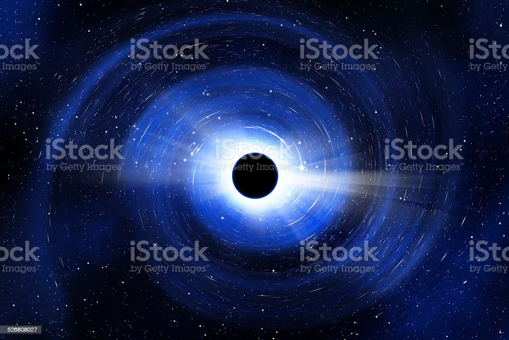 Black hole sucking stars, light, matter and time stock photo