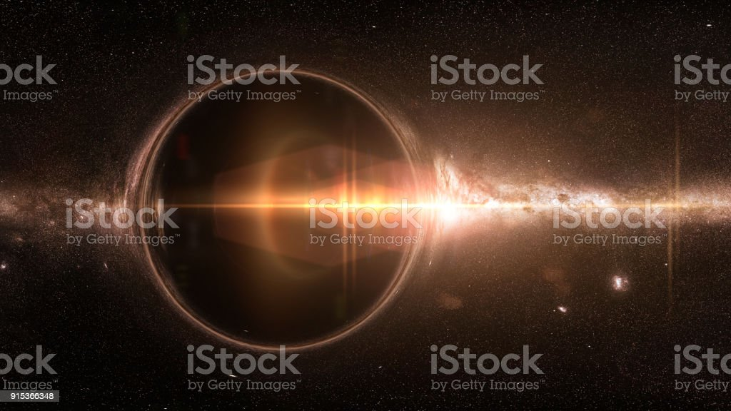 black hole with gravitational lens effect and the Milky Way galaxy stock photo