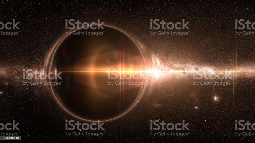 Schwarzes Loch mit Gravitations Linseneffekt und die Milchstraße – Foto
