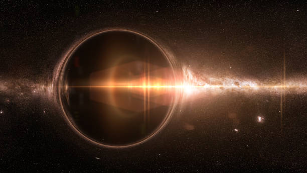 black hole with gravitational lens effect and the Milky Way galaxy artist's interpretation of a black hole deforming spacetime black hole stock pictures, royalty-free photos & images