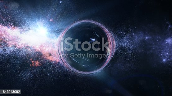 istock black hole with gravitational lens effect in front of bright stars 645243092