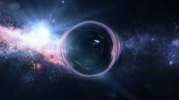 black hole with gravitational lens effect in front of bright stars 3d illustration, Elements of this image are furnished by NASA black hole stock pictures, royalty-free photos & images