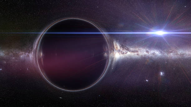 black hole with gravitational lens effect artist's interpretation of a beautiful black hole black hole stock pictures, royalty-free photos & images