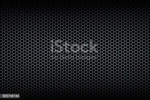 istock Black honeycomb background 520745144