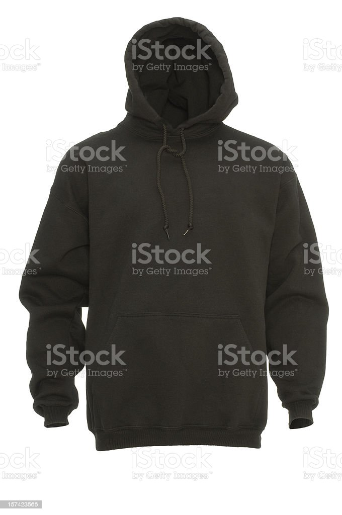 Black hooded blank sweatshirt front-isolated on white w/clipping path stock photo